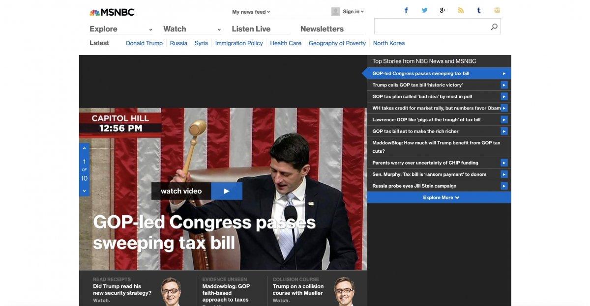 La web de MSNBC en la actualidad