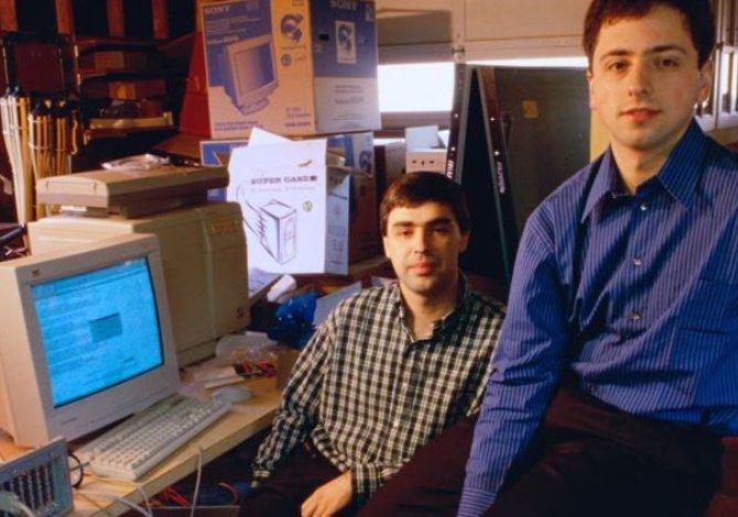 Larry Page y Sergey Brin en el garaje de Susan Wojcicki