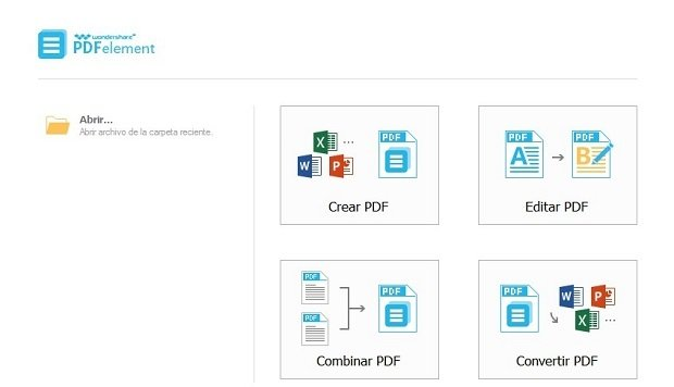 Las cuatro opciones iniciales ofrecidas por PDFelement