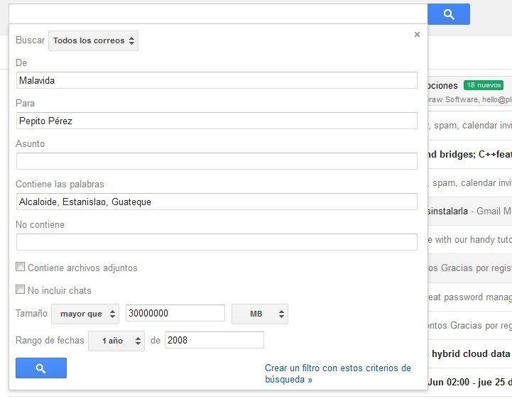 Las funciones de búsqueda avanzada permiten localizar cualquier mensaje