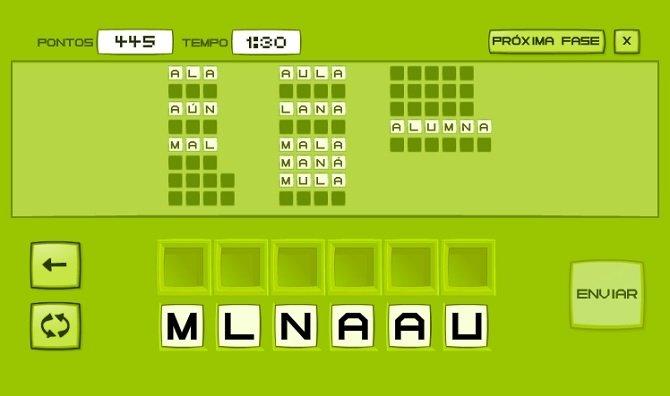Las palabras se colocan en el panel en orden alfabético