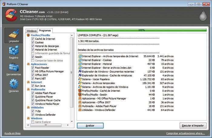 Limpia Windows 10