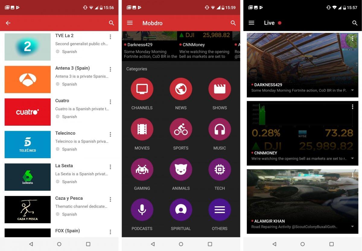 Lista de canales españoles y emisiones en directo en Mobdro para Android