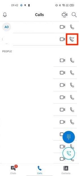Lista de contactos de Skype