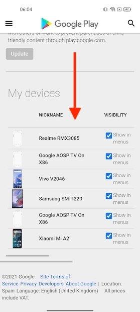 Lista de dispositivos