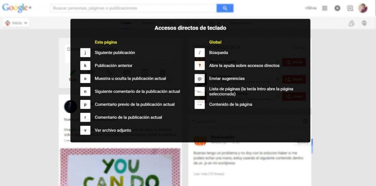 Listado completo de los atajos de teclado de Google+
