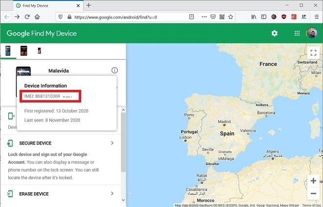 Localizar IMEI vía Web
