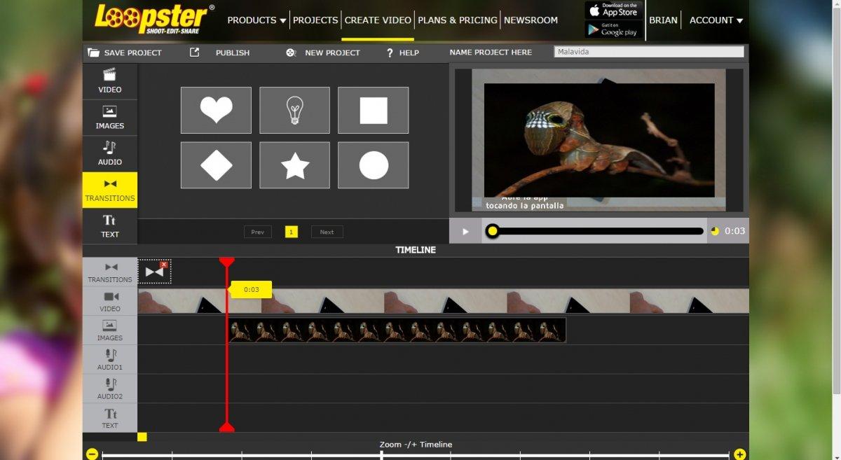Loopster permite editar vídeo añadiendo texto, audio, imágenes y transiciones