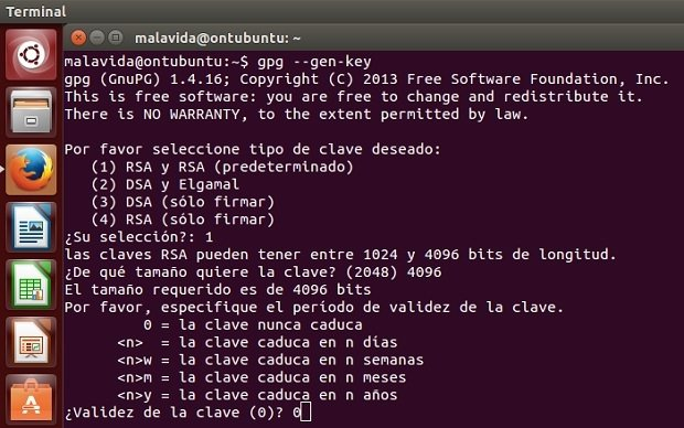 Los comandos necesarios para generar claves con GnuPG