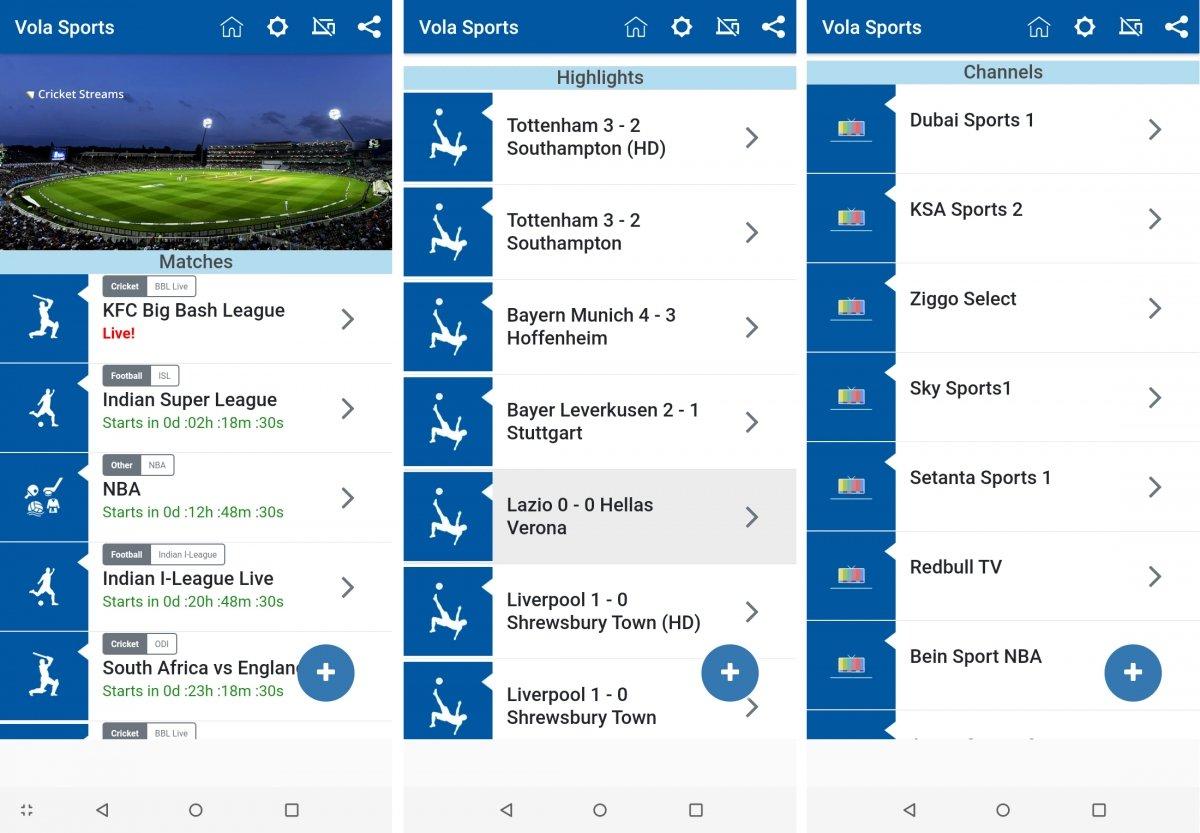 Los diferentes contenidos de la app Vola Sports