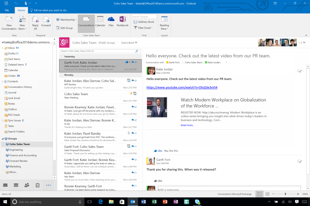 Los grupos de Office 365 integrados en Outlook 2016