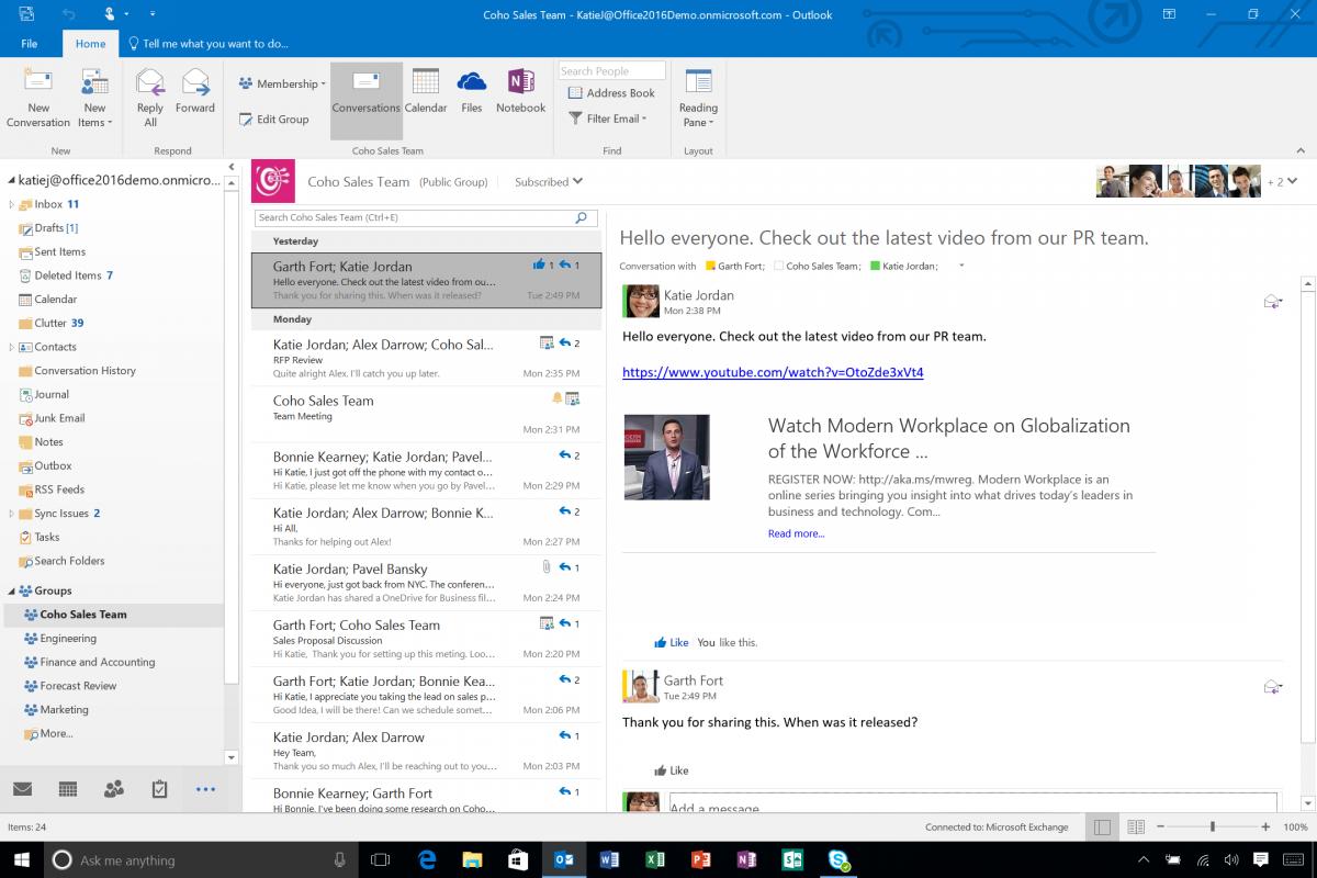 Los grupos de Office 365 integrados en Outlook 2016