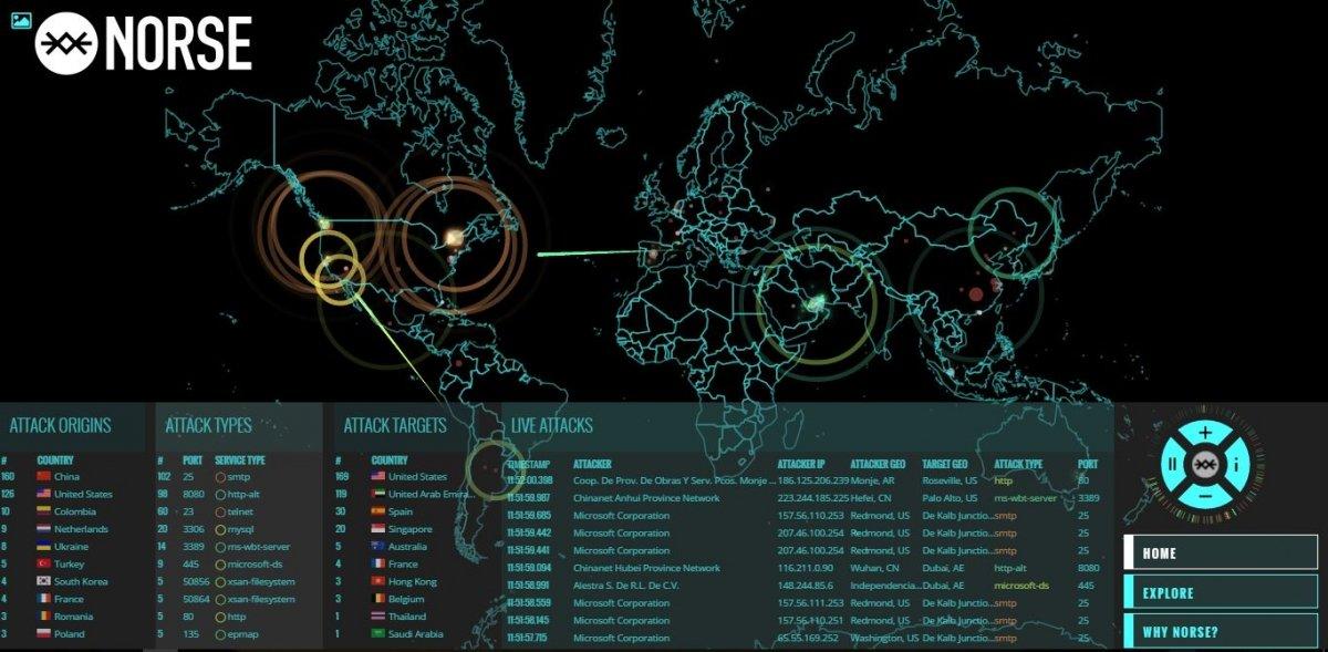 Mapa de ataques informáticos en tiempo real