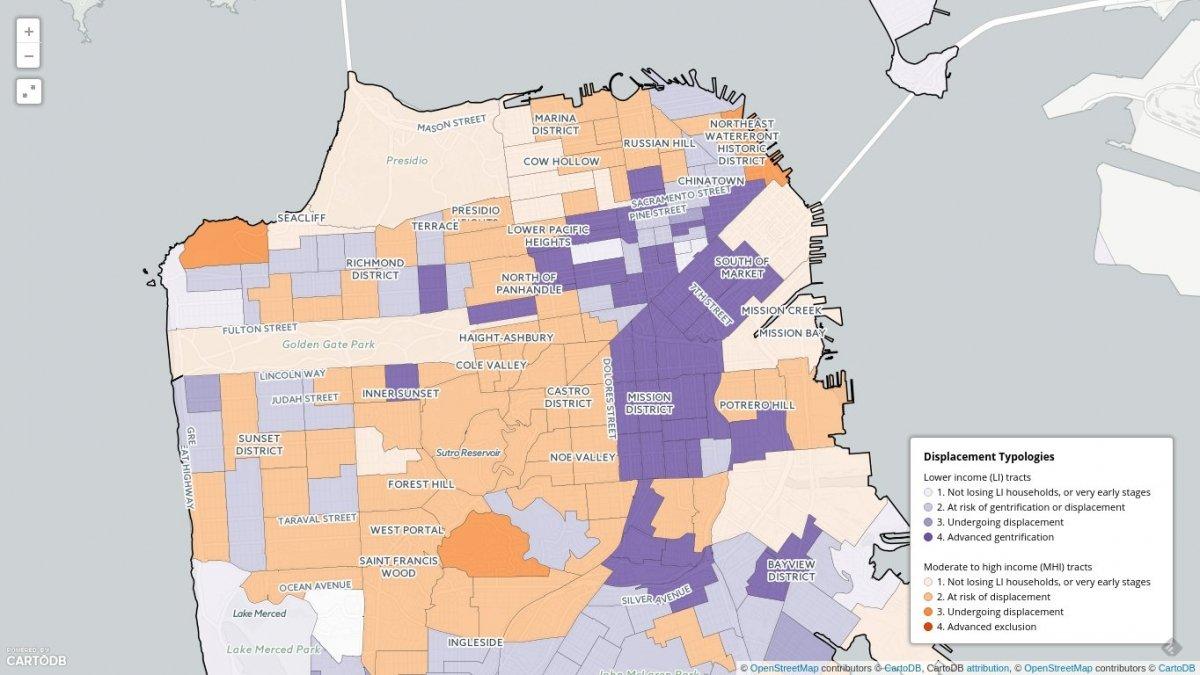 Mapa de la ciudad de San Francisco que muestra cómo está afectando la gentrificación