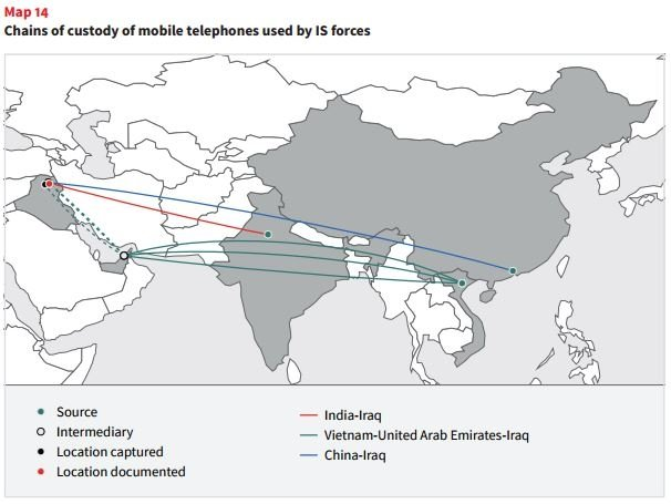 Mapa de las cadenas de custodia de los Nokia 105