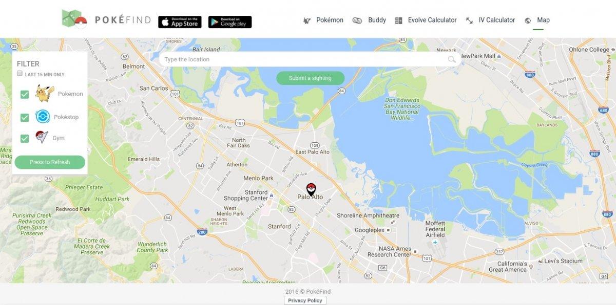 Mapa de PokeFind en la web