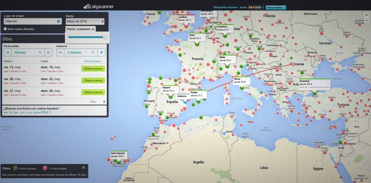 Mapa de vuelos baratos de Skyscanner