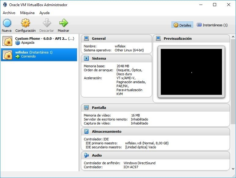 Máquina virtual de Wifislax en Virtualbox
