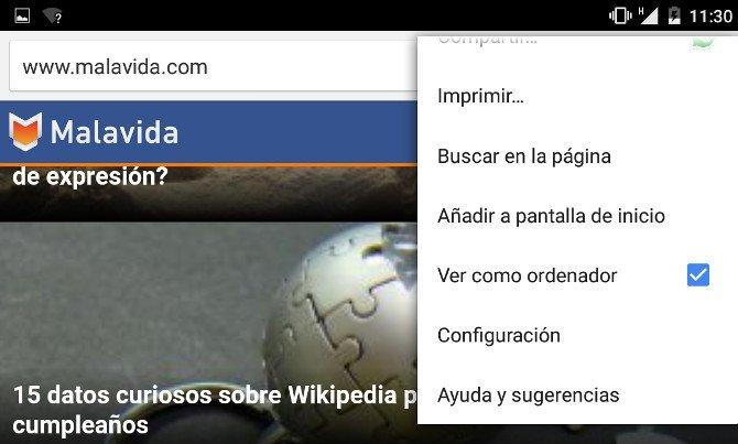 """Marca """"Ver como ordenador"""" en el navegador Google Chrome de tu tablet"""