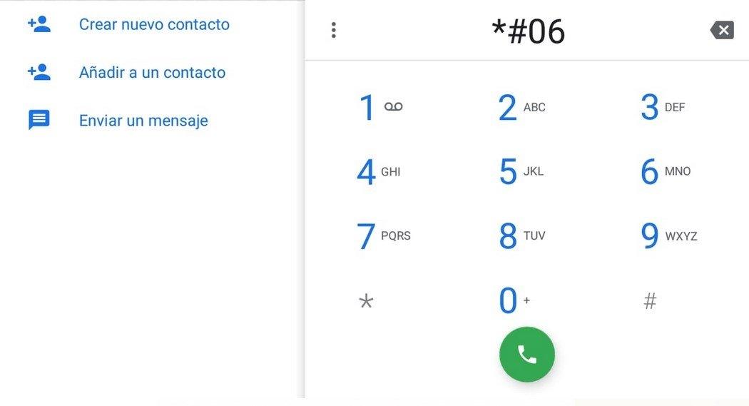Marcando *#06# se puede averiguar el IMEI de un teléfono