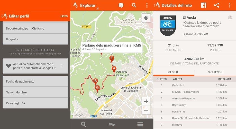 Capturas de Strava para Android: perfil, varios segmentos y ranking