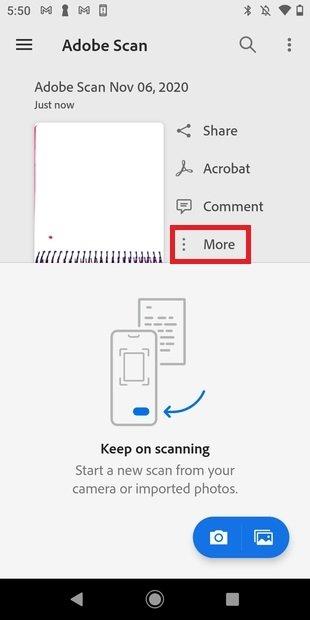 Más opciones del escaneo