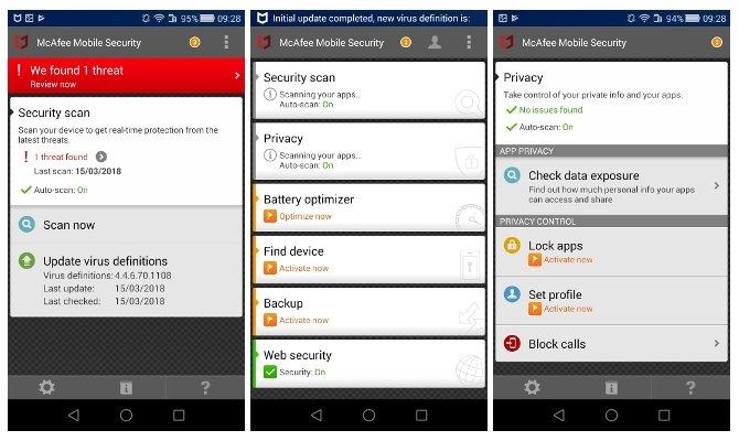 McAfee Mobile Security en Android también es un poco feo pero efectivo