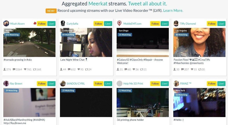 Meerkat Streams recopila los vídeos de Meerkat