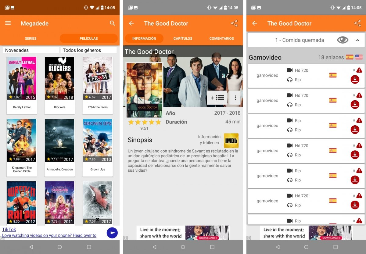 Megadede ofrece series y películas en Android