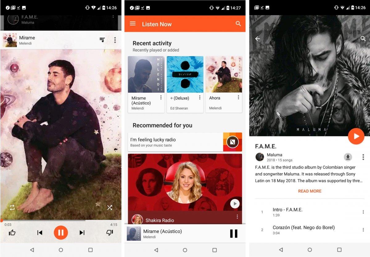 Melendi, Shakira o Maluma están en Google Play Music