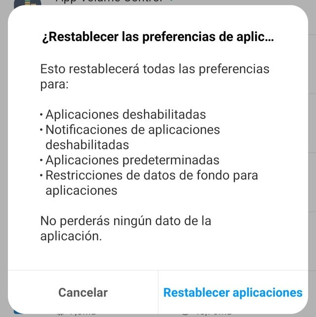 Mensaje de advertencia del restablecimiento de aplicaciones
