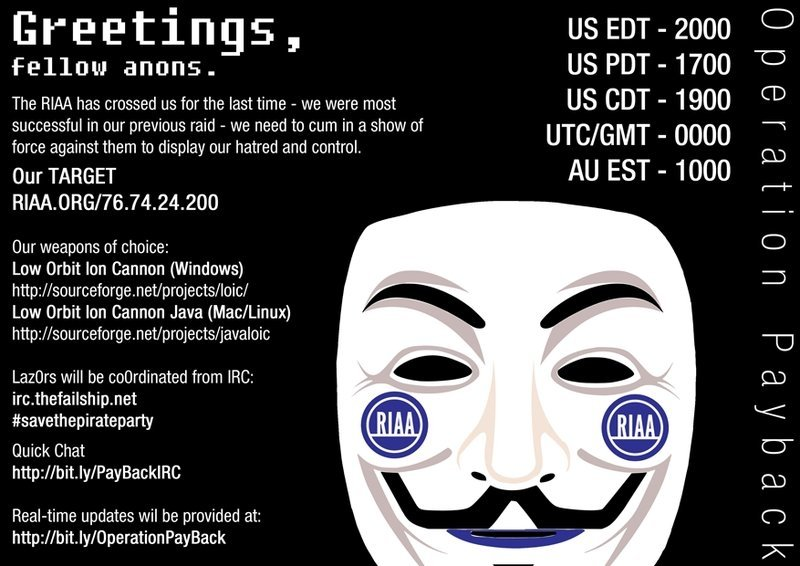Mensaje de Anonymous sobre Operation Payback contra la RIAA