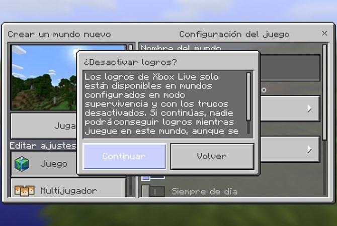 Mensaje de aviso de logros de Xbox Live en Minecraft