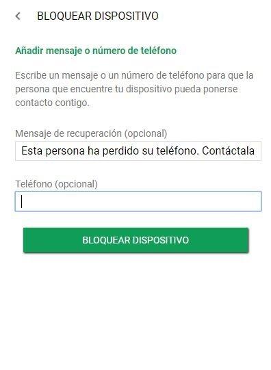 Mensaje de bloqueo de Android