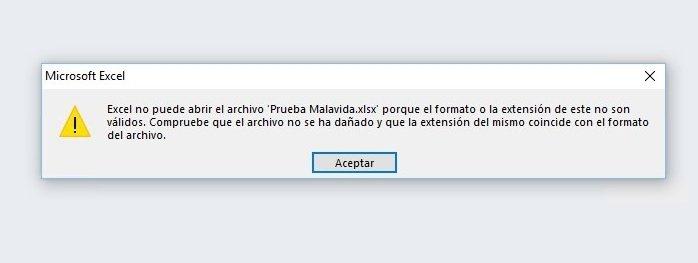 Mensaje de error de Microsoft Excel al intentar abrir un archivo corrupto