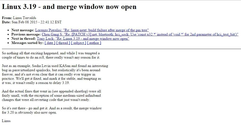 Mensaje de Torvalds sobre el kernel de Linux 3.19