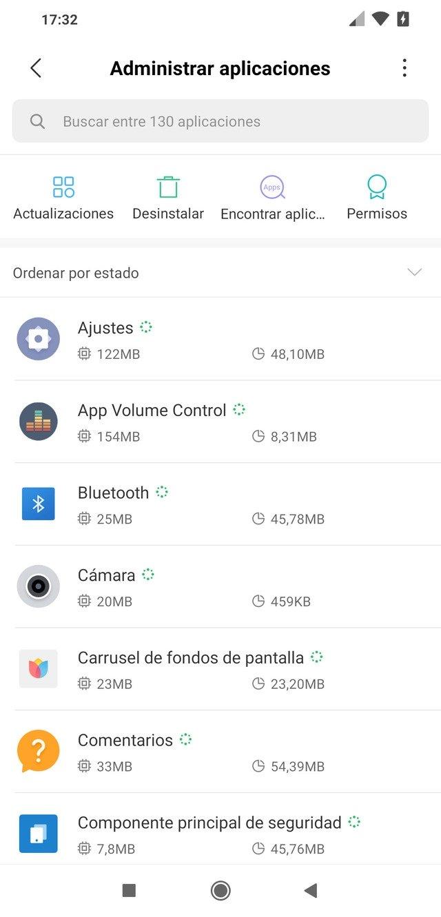 Menú aplicaciones de los ajustes de Android