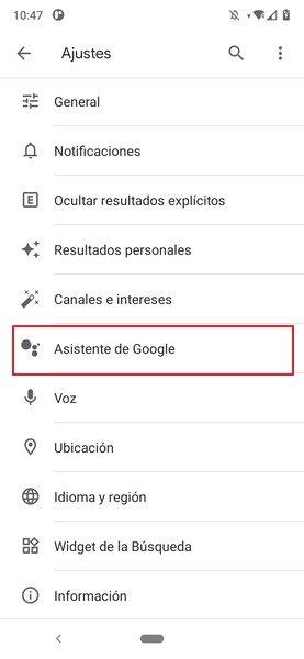Menú de ajustes de la cuenta de Google