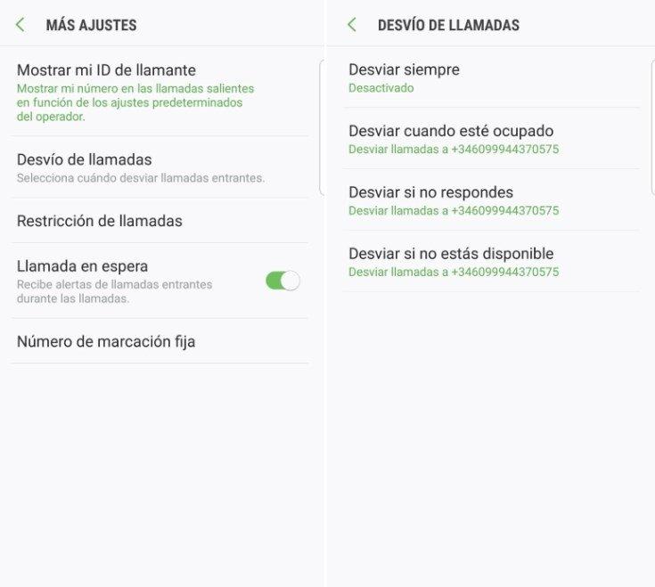 Menú de Android para activar el desvío de llamadas