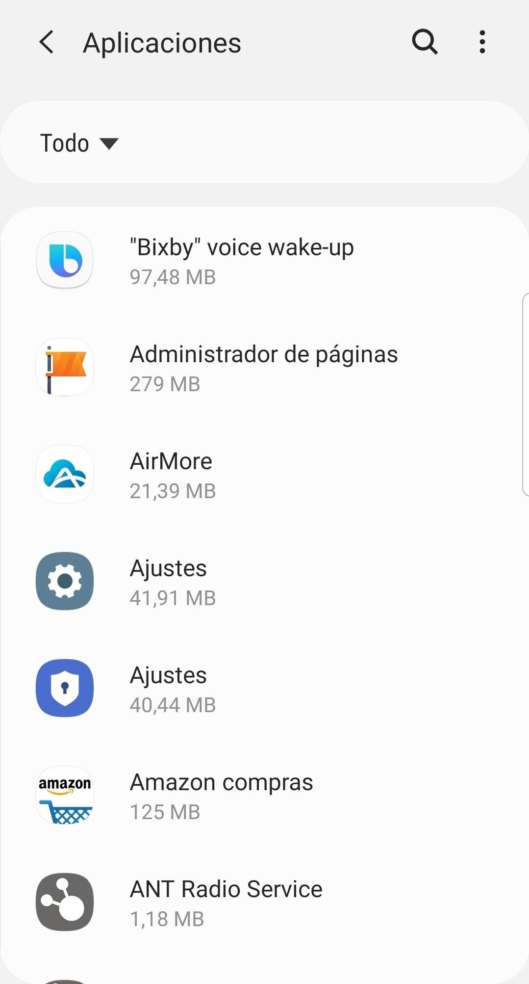 Menú de aplicaciones de Android