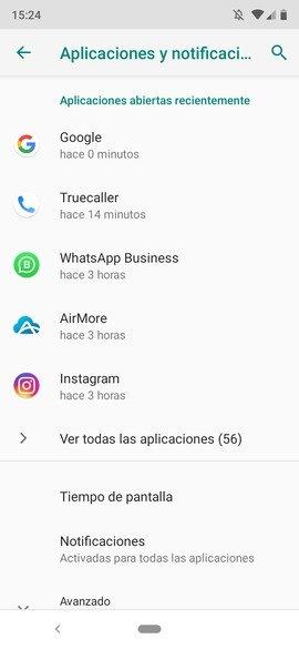 Menú de aplicaciones en Android
