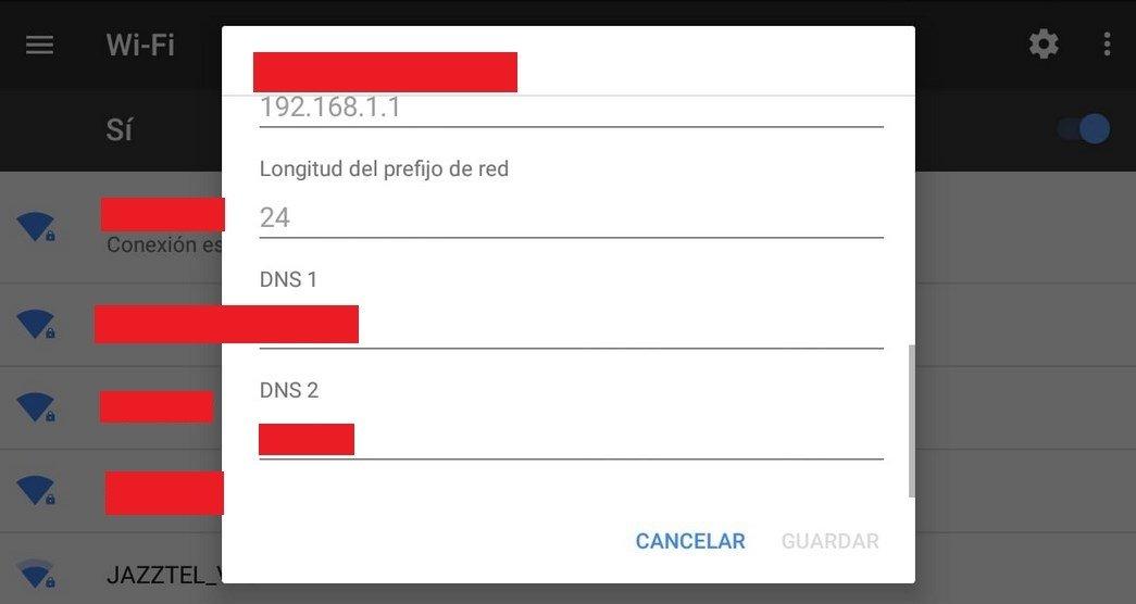 Menú de configuración de las DNS en Android