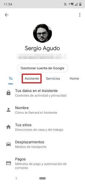 Menú de configuración del asistente de Google