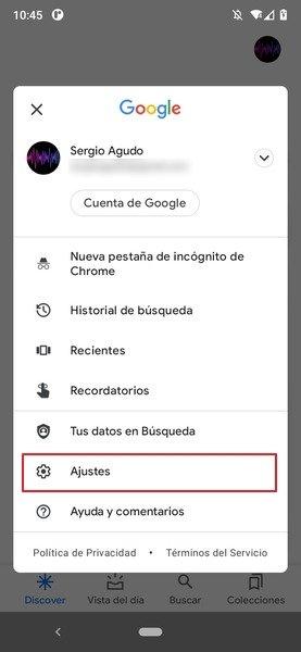 Menú de la cuenta de Google