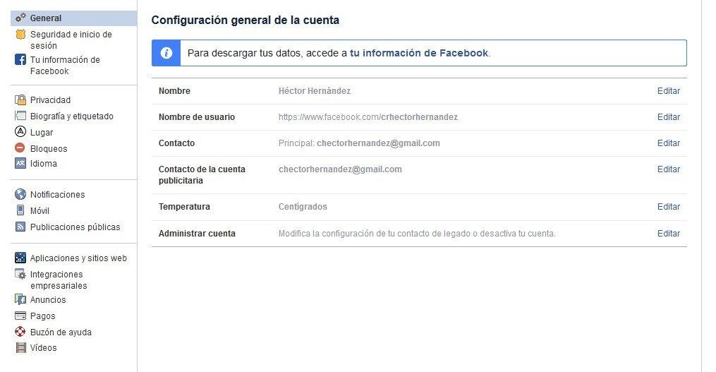 Menú para desactivar la cuenta de Facebook