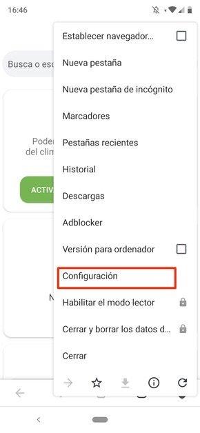 Menú principal de Adblocker Browser
