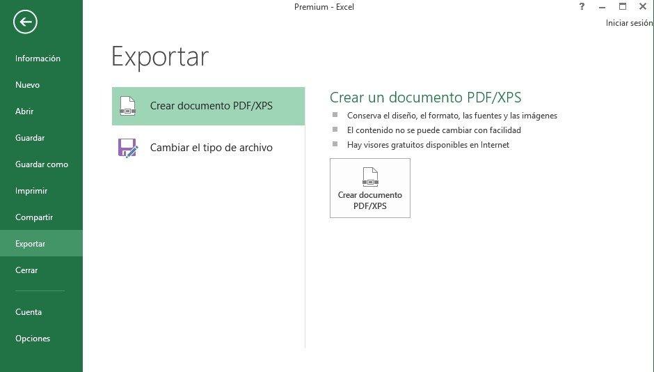 Microsoft Excel ofrece la opción para convertir documentos a PDF