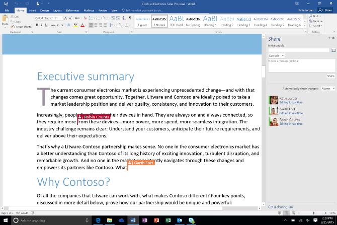 Microsoft Word 2016 con coautoría y comunicación a través de Skype