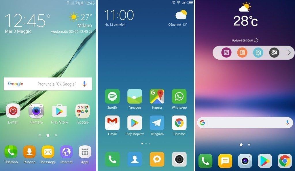 MIUI de Xiaomi, TouchWiz de Samsung y LG UX de LG