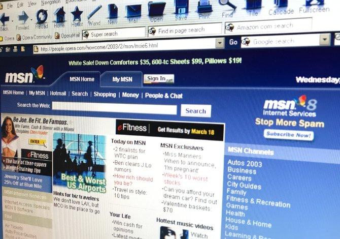 MSN mostraba una versión más antigua en Opera
